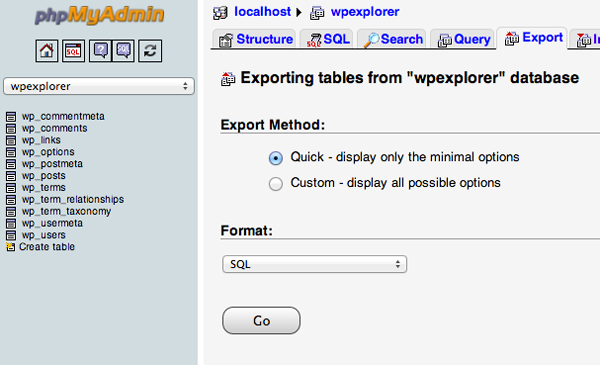 Export The WordPress Database