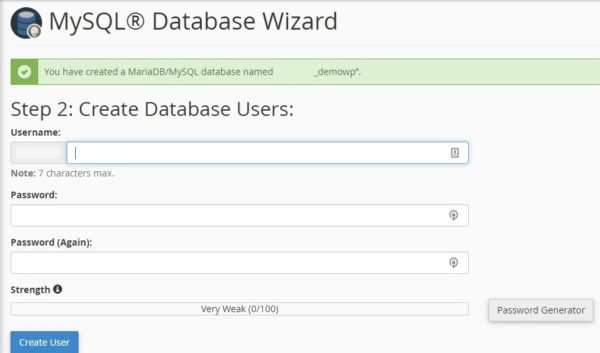 Create new MySQL user